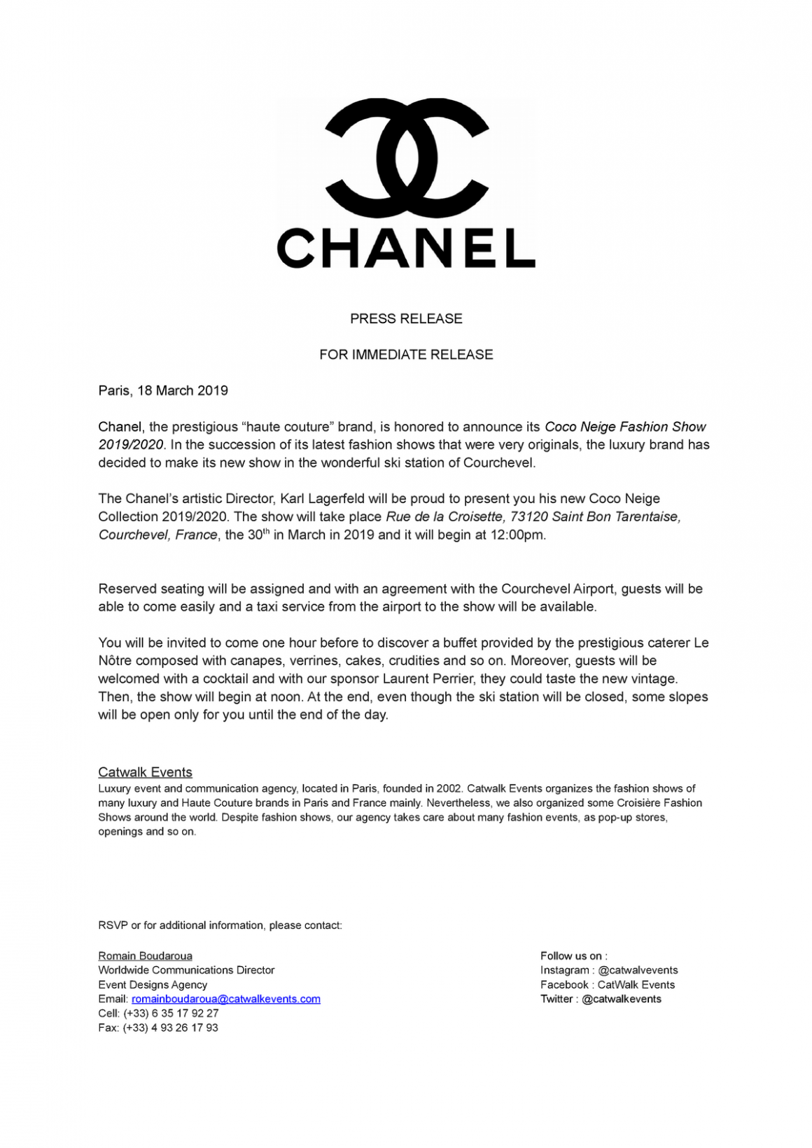 Fashion press release